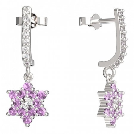 BeKid, Gold kids earrings -090 - Switching on: Pendant hanger, Metal: White gold 585, Stone: Pink cubic zircon