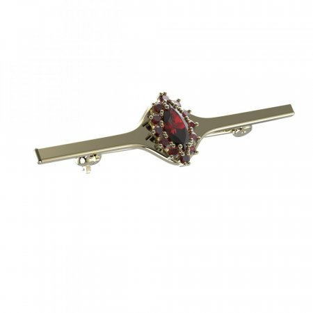 BG brooch 504I - Metal: Yellow gold 585, Stone: Moldavit and garnet