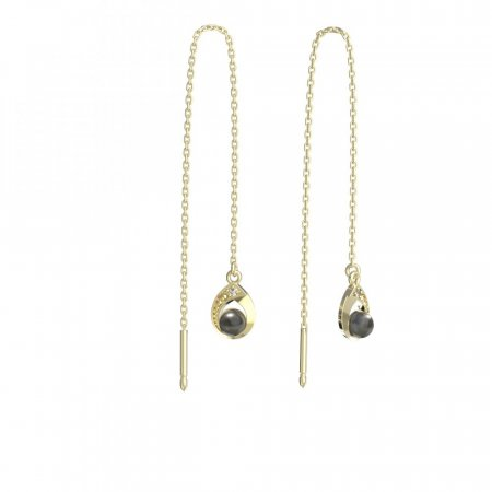 BeKid, Gold kids earrings -1242 - Switching on: Puzeta, Metal: Yellow gold 585, Stone: White cubic zircon
