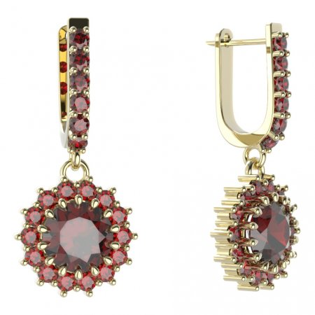 BG circular earring 096-94 - Metal: Yellow gold 585, Stone: Moldavit and garnet