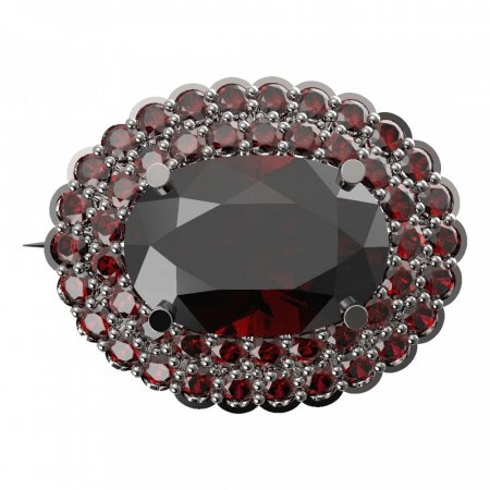BG brooch 485 - Metal: Silver - gold plated 925, Stone: Moldavit and garnet