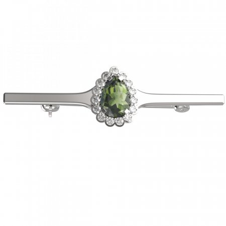BG brooch 519I - Metal: Silver 925 - ruthenium, Stone: Moldavit and garnet