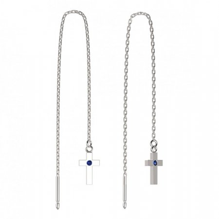 BeKid, Gold kids earrings -1105 - Switching on: Chain 9 cm, Metal: White gold 585, Stone: Dark blue cubic zircon
