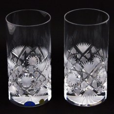 Set of two crystal hand cut water drains Šafránek 414