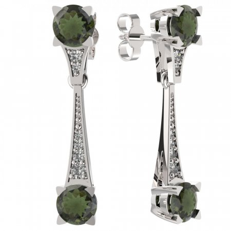 BG earring moldavit  985 - Switching on: Puzeta, Metal: Yellow gold 585, Stone: Moldavite and cubic zirconium