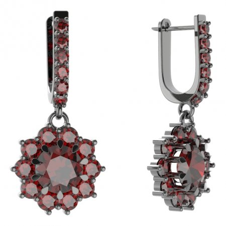 BG circular earring 011-94 - Metal: White gold 585, Stone: Moldavite and cubic zirconium