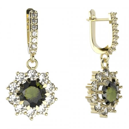 BG circular earring 011-84 - Metal: Yellow gold 585, Stone: Moldavite and cubic zirconium