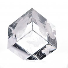 Hand cut crystal cube with butterflies SRQV00045