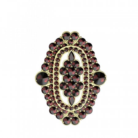 BG brooch 348 - Metal: White gold 585, Stone: Moldavit and garnet