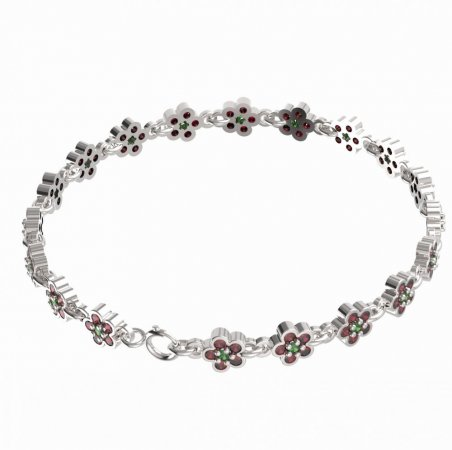 BG bracelet 520 - Metal: White gold 585, Stone: Moldavit and garnet