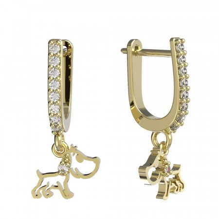 BeKid, Gold kids earrings -1159 - Switching on: Pendant hanger, Metal: Yellow gold 585, Stone: Light blue cubic zircon