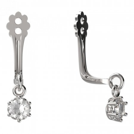 BeKid Gold earrings components I3 - Metal: White gold 585, Stone: Dark blue cubic zircon