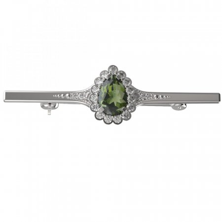 BG brooch 519K - Metal: Silver 925 - ruthenium, Stone: Moldavit and garnet