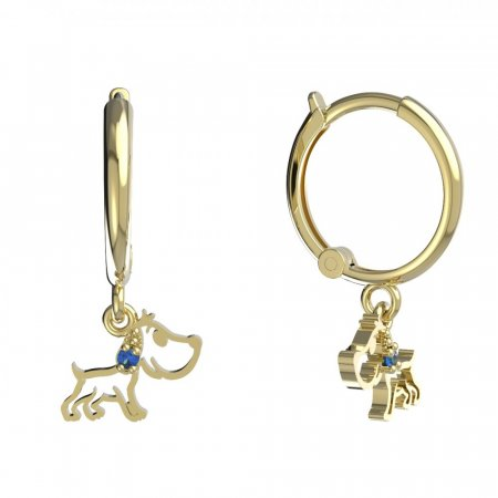 BeKid, Gold kids earrings -1159 - Switching on: Circles 12 mm, Metal: Yellow gold 585, Stone: Dark blue cubic zircon