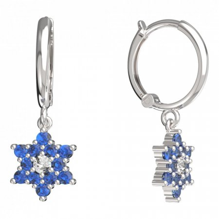 BeKid, Gold kids earrings -090 - Switching on: Circles 12 mm, Metal: White gold 585, Stone: Dark blue cubic zircon