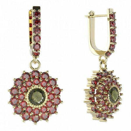 BG circular earring 004-94 - Metal: Yellow gold 585, Stone: Garnet