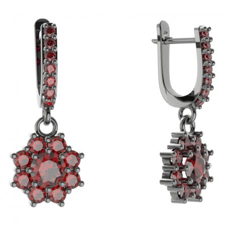 BG circular earring 023-84 - Metal: White gold 585, Stone: Moldavit and garnet