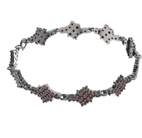 BG bracelet 077 - Metal: Silver - gold plated 925, Stone: Moldavit and garnet