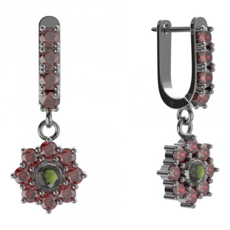 BG circular earring 030-96 - Metal: Yellow gold 585, Stone: Moldavite and cubic zirconium