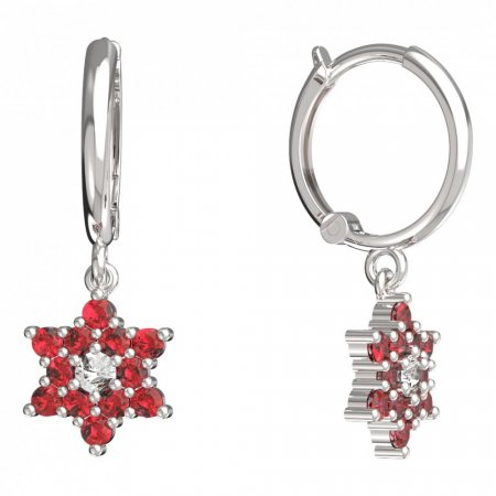 BeKid, Gold kids earrings -090 - Switching on: Circles 12 mm, Metal: White gold 585, Stone: Red cubic zircon