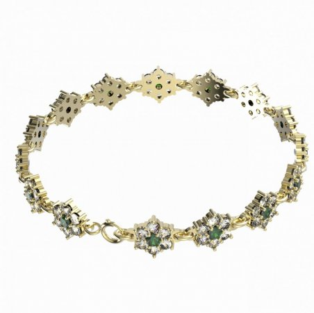 BG bracelet 157 - Metal: Silver - gold plated 925, Stone: Moldavite and cubic zirconium