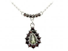 BG necklace with moldavite and garnet 052