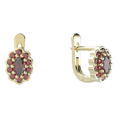 BG  earring 455-07 oval - Metal: Silver - gold plated 925, Stone: Moldavit and garnet