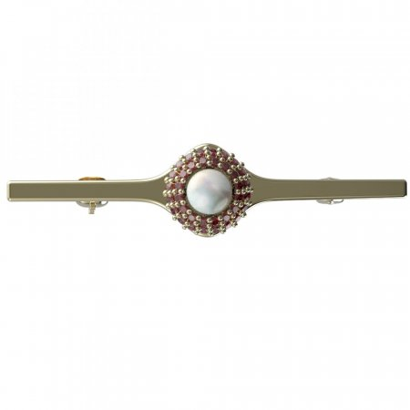 BG brooch 540I - Metal: Silver - gold plated 925, Stone: Garnet and pearl