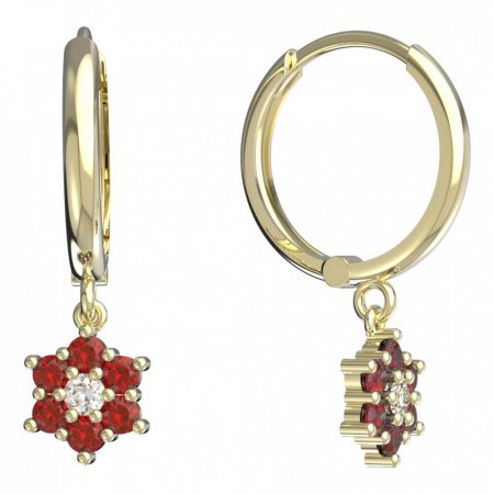 BeKid, Gold kids earrings -109 - Switching on: Circles 15 mm, Metal: Yellow gold 585, Stone: Red cubic zircon