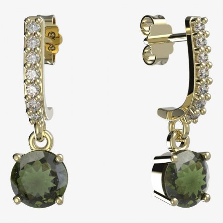 BG moldavite earrings - 727 - Switching on: Puzeta závěs 61, Metal: Yellow gold 585, Stone: Moldavite and cubic zirconium