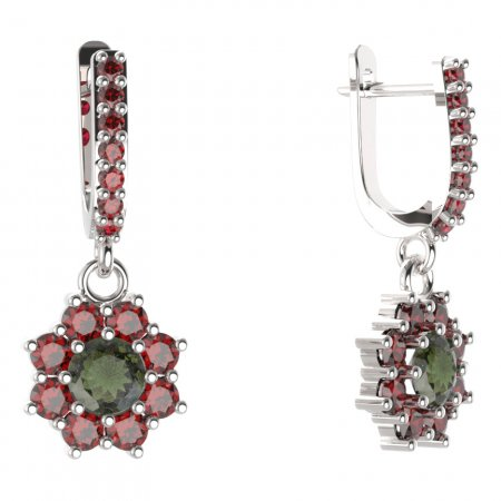 BG circular earring 023-84 - Metal: White gold 585, Stone: Moldavite and cubic zirconium