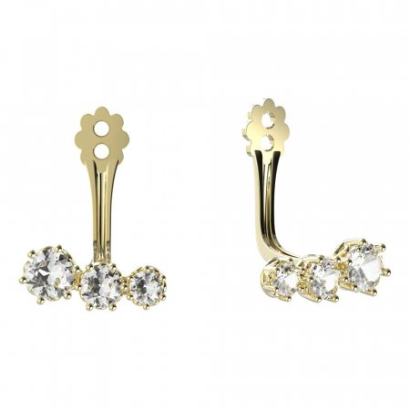 BeKid Gold earrings components  three stones - Metal: Yellow gold 585, Stone: White cubic zircon