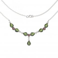 BG necklace with moldavite and garnet 254