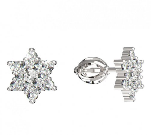 BeKid, Gold kids earrings -090 - Switching on: Screw, Metal: White gold 585, Stone: White cubic zircon