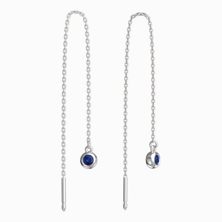 BeKid, Gold kids earrings -101 - Switching on: Chain 9 cm, Metal: White gold 585, Stone: Dark blue cubic zircon