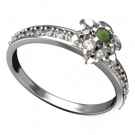 BG moldavit ring - 878E - Metal: White gold 585, Stone: Moldavite and diamond
