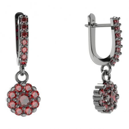 BG circular earring 088-84 - Metal: White gold 585, Stone: Moldavit and garnet