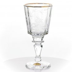 Set of two hand engraved crystal wine cups Aida friendly+gold in the cassette SRQA0SR96