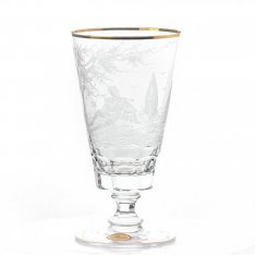 Set of two hand engraved crystal wine cups Aida friendly+gold SRQAGSR29