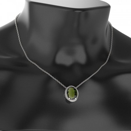 BG gold moldavit pendant 729 - Metal: White gold 585, Stone: Moldavite and cubic zirconium