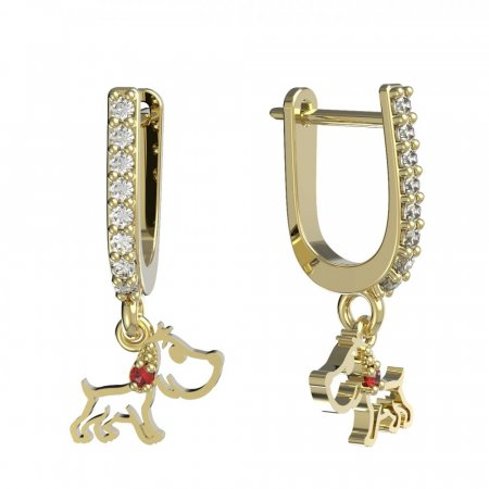 BeKid, Gold kids earrings -1159 - Switching on: English, Metal: Yellow gold 585, Stone: Red cubic zircon