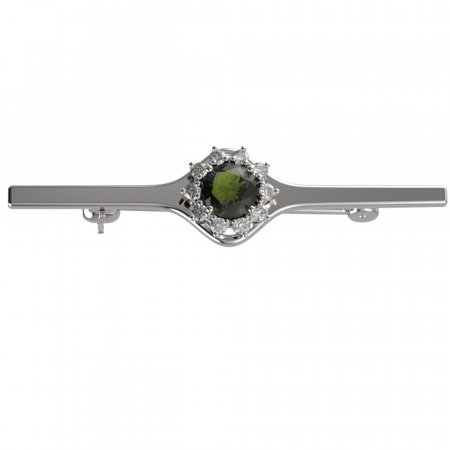 BG brooch 511I - Metal: White gold 585, Stone: Moldavit and garnet