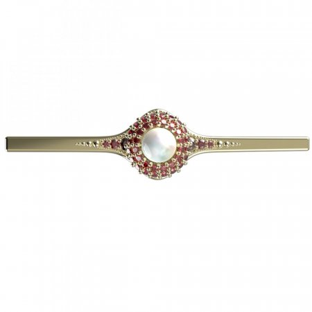 BG brooch 540K - Metal: Silver 925 - ruthenium, Stone: Garnet and Tahiti Pearl