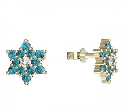 BeKid, Gold kids earrings -090 - Switching on: Puzeta, Metal: Yellow gold 585, Stone: Light blue cubic zircon