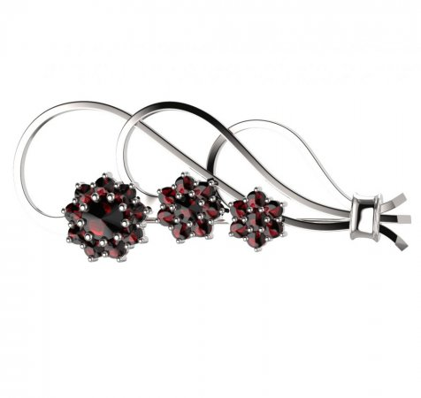 BG brooch 063 - Metal: Silver 925 - rhodium, Stone: Moldavit and garnet
