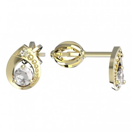 BeKid, Gold kids earrings -1242 - Switching on: Brizura, Metal: Yellow gold 585, Stone: White cubic zircon