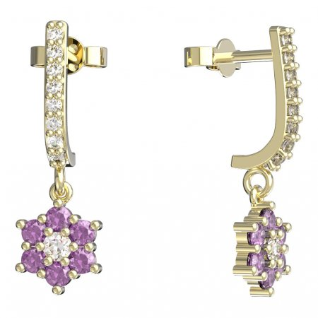 BeKid, Gold kids earrings -109 - Switching on: Pendant hanger, Metal: Yellow gold 585, Stone: Pink cubic zircon