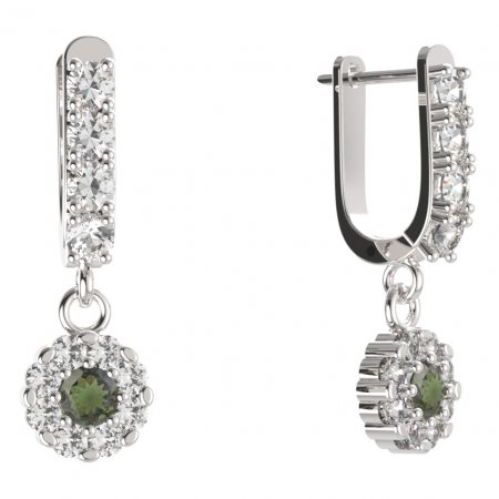BG circular earring 088-96 - Metal: Silver - gold plated 925, Stone: Moldavit and garnet