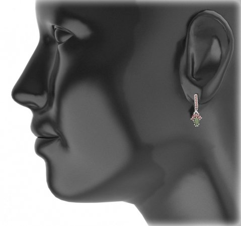 BG circular earring 258-84 - Metal: White gold 585, Stone: Moldavit and garnet