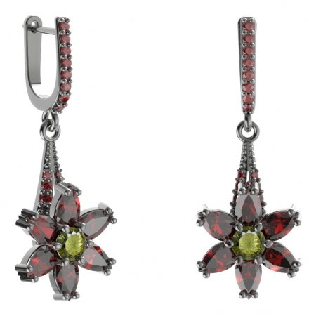 BG earring star 520-G91 - Metal: Silver 925 - rhodium, Stone: Moldavit and garnet